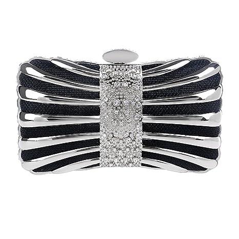 Noche Bolso Mujer Bolsas Fiesta Boda Carteras Mano Diamantes Cadena Embrague Negro