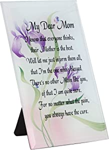 Decorative Glass Floral Plaque for Mother's Day, My Dear Mom (4 x 6.2 In)