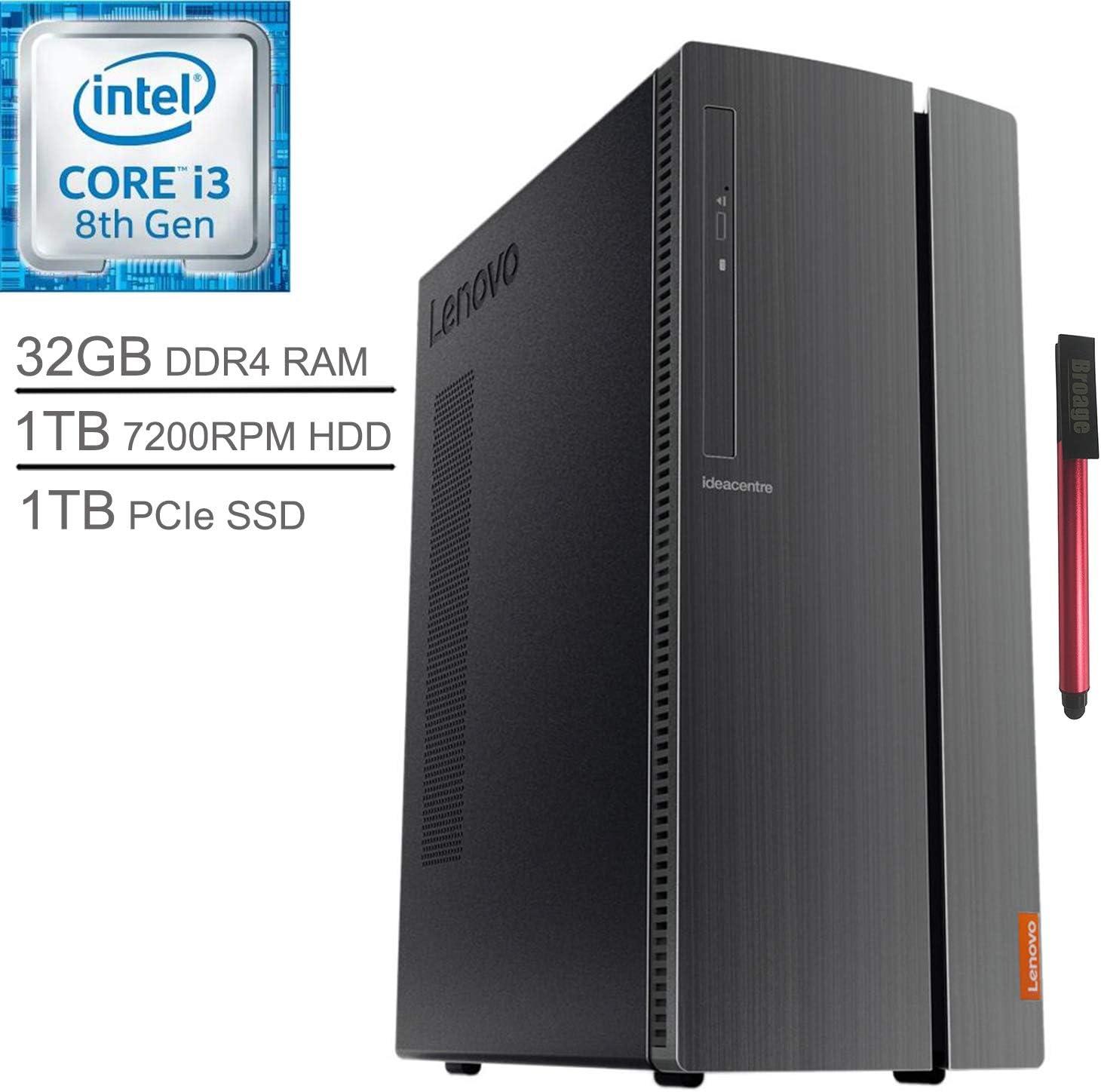 Lenovo IdeaCentre 510A Desktop Computer_ Intel Quad-Core i3-8100 3.6GHz (Beats i5-7500)_ 32GB DDR4 RAM_ 1TB 7200RPM HDD + 1TB PCIe SSD_ DVDRW_ 802.11AC WiFi_ Windows 10_ BROAGE 64GB Flash Drive