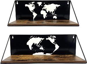 PETAFLOP Floating Shelves Wall Mount Shelf with World Map Cutouts, Black Wall Shelves for Bedroom Living Room, Set of 2