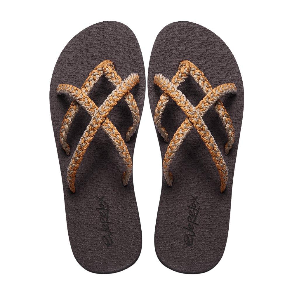 Everelax Women's Flip Flops Sandal 8 B(M) US, Orange Grey
