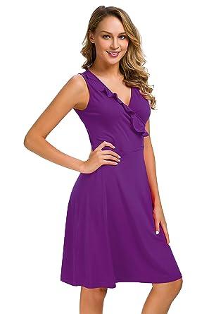 968148c7e78f Women s Vintage Scoop Neck Midi Dress Sleeveless v-Neck Cocktail Party Tank  Dress (Purple