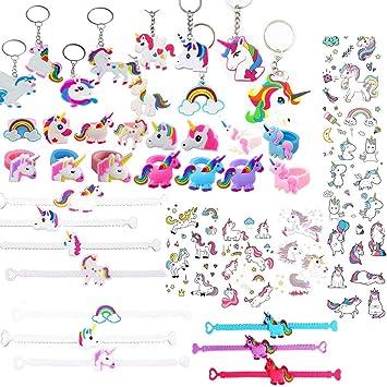 41 Pcs Unicornio Cumpleaños Unicornio Pulsera, Unicornio Anillo, Unicornio Tatuajes temporales, Niños Niñas Regalos para Cumpleaños Infantiles.