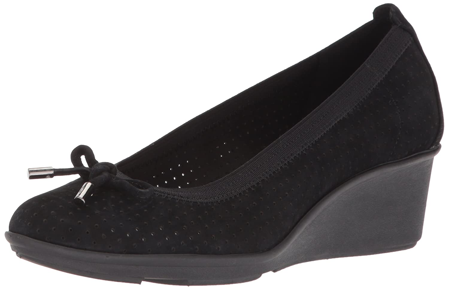 Anne Klein Women's Carissa Perforated Sport Wedge Pump B077Y6XQHD 5 B(M) US|Black Nubuck