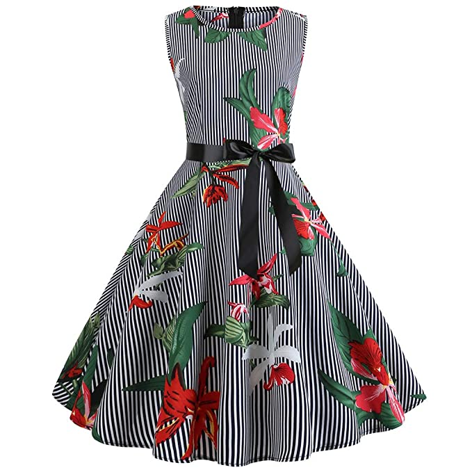 Amazon.com: Birdfly Vintage 50\'S Style Striped and Floral ...