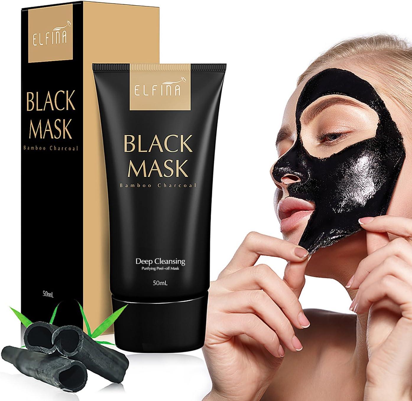 Elfina Black Mask Máscara Facial de Barro Negro, Removedor de Espinillas Rrasgón Estilo Limpieza Profunda Purificante Pelar Fuera de la Cabeza Negra (50 ml)