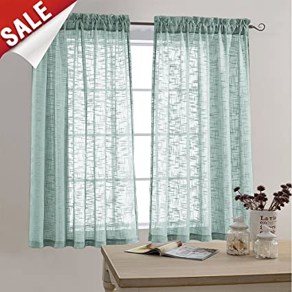 Faux Linen Textured Sheer Curtains Rod Pocket Sheer Curtain For Bedroom 63  Inches Long Living Room