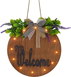 TENGZHEN Welcome Sign for Front Porch Round Wood Welcome Sign for Front Door Decor with LED Light and Wreaths Hanging Sign for Front Porch Decorations for Home, Intdoor