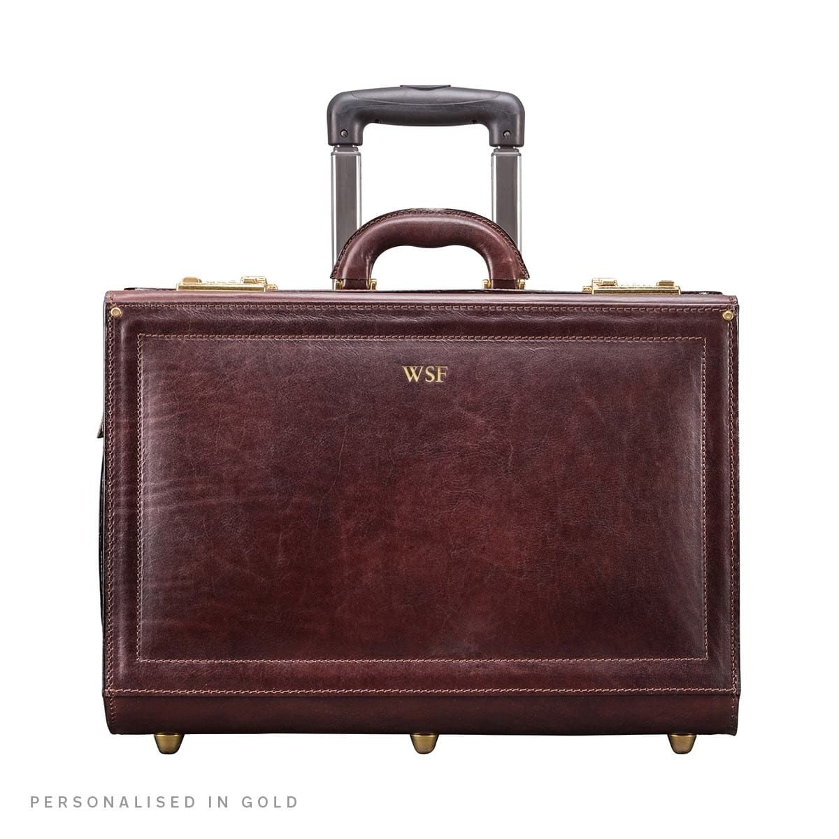 Maxwell Scott Personalised Luxury Brown Leather Wheeled Pilot Case (The VareseW)