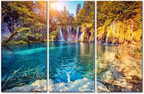 Croatia Plitvice Lakes National Park Wall Art Paintings Prints On Canvas 3 Pieces Clean Water and Mountain Nature Lanscape For Living Room Office Home Decor Modern Artwork