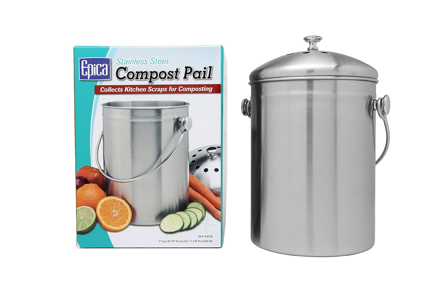 Amazon.com: Top Rated Epica Stainless Steel Compost Bin Includes Charcoal  Filter: Home U0026 Kitchen