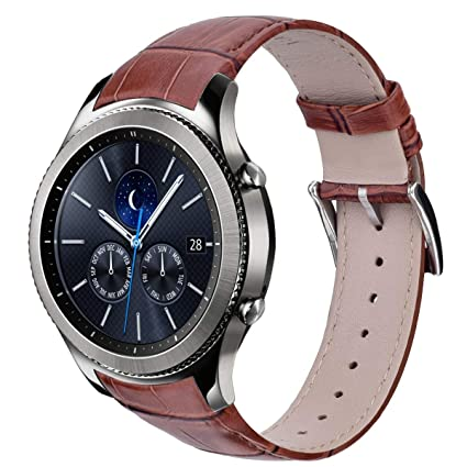 V-Moro Brown Band Compatible with Galaxy Watch 46mm Bands 22MM Genuine Leather Crocodile Pattern Replacement for Samsung Gear S3 Classic / S3 Frontier ...