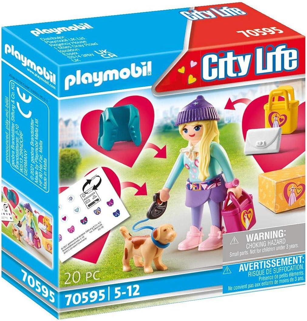 PLAYMOBIL City Life 70595 Chica Fashion con Perro, Para niños ...