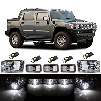 5x 264160BK Clear Lens Red Rear Roof Clearance Top Marker Light For Hummer H2
