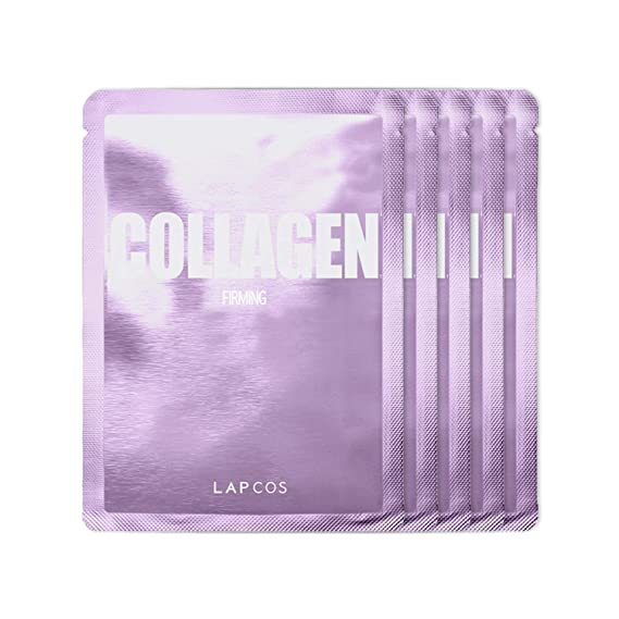LAPCOS Collagen Sheet Mask, Daily Face Mask with Collagen Peptides for Wrinkles and Dark Spots, Korean Beauty Favorite, 5-Pack. best sheet masks