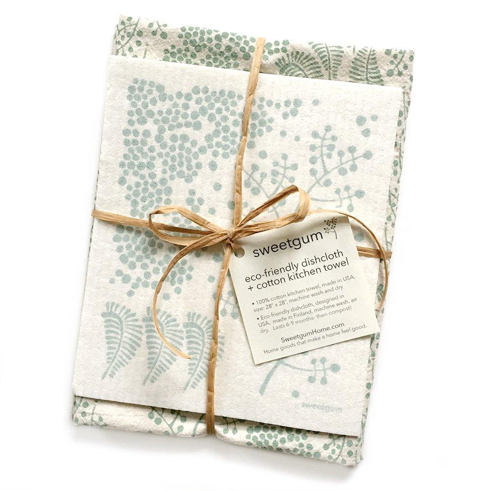 sweetgum Kitchen Towel Swedish Dishcloth Set   Forest   Eco-Friendly   Cotton/Cellulose   Green