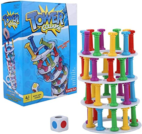 Wobbly Tower Collapse Game Education Kids Toy Family Party Juego clásico Apilamiento Bloques de columnas Juegos de Mesa: Amazon.es: Deportes y aire libre