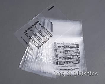 35d3aed100 Image Unavailable. Image not available for. Colour: bag it Plastics No  Mixed Coin Plastic Money / Bank Bags ...