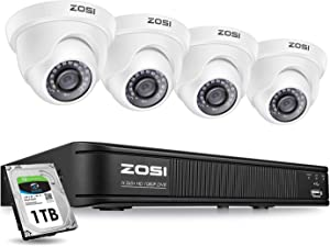 ZOSI H.265+ 1080p Home Security Camera System, 8 Channel CCTV DVR Recorder with 1TB HDD and (4) 2MP 1080p Surveillance Camera Outdoor/Indoor Day Night Vision,Remote Access, Customize Motion Detection