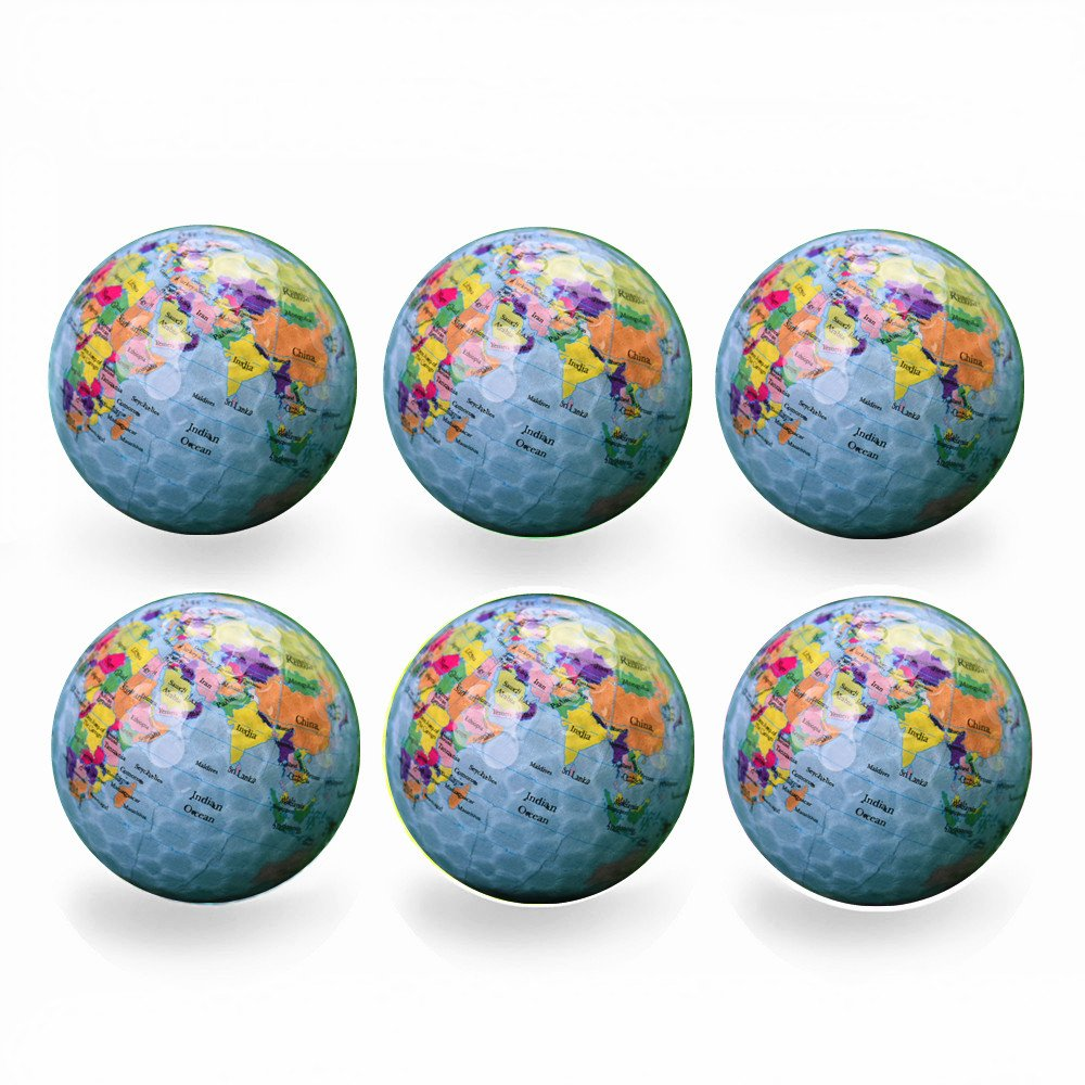 Funny Novelty Practice Golf Balls 6Pack For Kids Men Woman , Christmas Birthday Gift (Earth) by Bikego