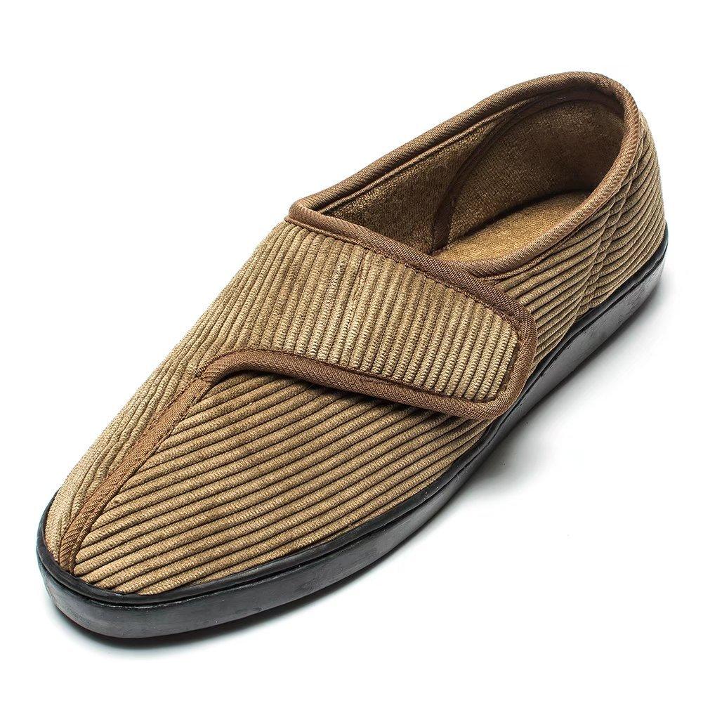 Men's Diabetic Slippers Arthritis Edema Memory Foam Shoes Adjustable Velcro W Git-up