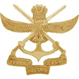 Autofy Brass Army Cross Sword and Indian Emblem Service Before Self Decal Badge for All Bikes (Gold)