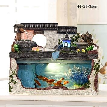 Humidificador Creativo pequeño Acuario del Acuario, Fuente rocosa Cascada Sala de Estar Paisaje Escritorio Adornos de Regalo (Color : C): Amazon.es: Hogar