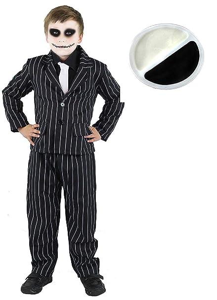 ILOVEFANCYDRESS Traje DE Rayas para NIÑOS con Pintura DE Cara DE Esqueleto Disfraz DE Halloween Conjunto DE Accesorios Chaqueta DE Rayas Negras + ...