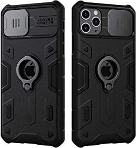iPhone SE 2020/8/7 Case, CamShield Armor Case with Ring Kickstand and Slide Camera Cover, PC & TPU Impact-Resistant Bumpers Protective Case for iPhone SE 2020/8/7 4.7 inch (Black)
