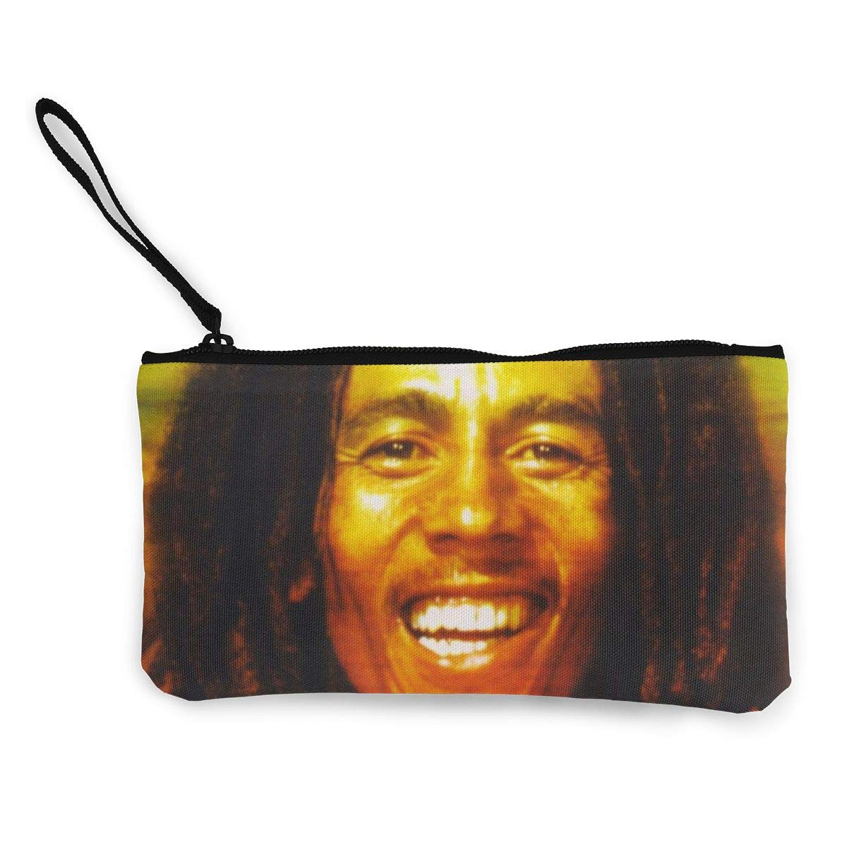 Thomas C Gaona Bob Marley Ladies Casual Coin Purse Zipper Pouch Wallet Canvas Clutch Wristlet Cellphone Bag with Handle for