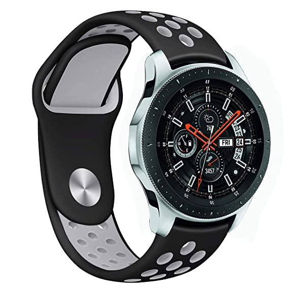 Compatible Samsung Gear S3 Frontier/Classic Bands and Samsung Galaxy Watch 46mm Bands,22mm Silicone Breathable Replacement Strap Quick-Release Pin for ...