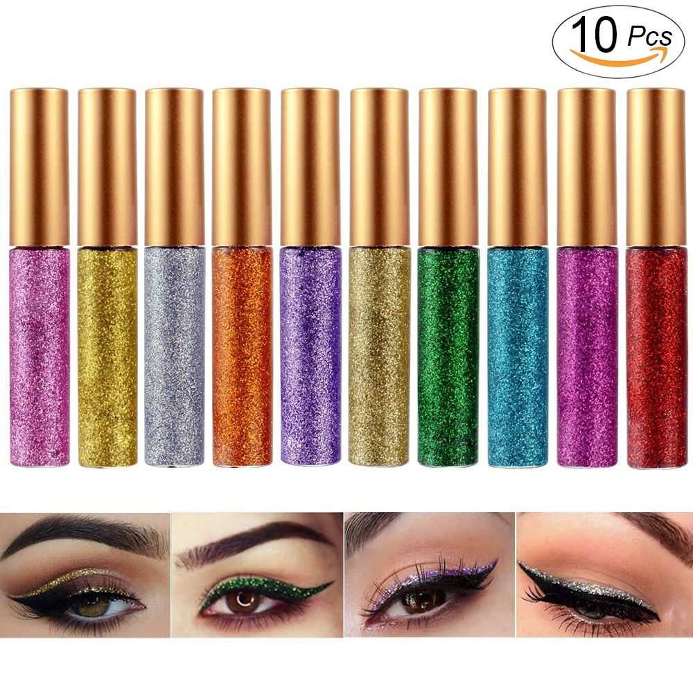 Glitter Liquid Eyeshadow Eyeliner 5 Colors Long Lasting Waterproof Highlighter Brighten Concealer Face Eye Cosmetic Glow Shimmer Makeup Pigments Cover Perfection Tip for women (10Pcs Style C)