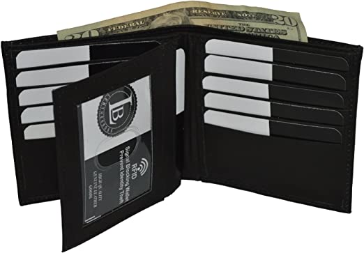 Black RFID Block Men/'s Leather Hipster Euro Wallet Credit 16 Card ID Center Flap