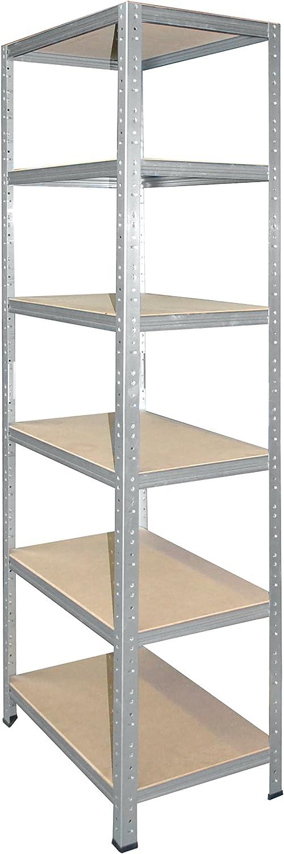 shelfplaza/® HOME /Étag/ère charge lourde m/étallique galvanis/é de 200x90x60 cm avec 6 tablettes entrep/ôts garage grenier atelier maison