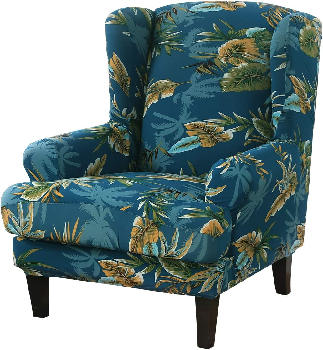 ele ELEOPTION Stretch Printed Wingback Sofa Chair Cover, Modern Pattern 2-Piece Sofa Cover, Armchair Slipcover Furniture Protector Couch Super Soft Slipcover Machine Washable (Pattern-13)