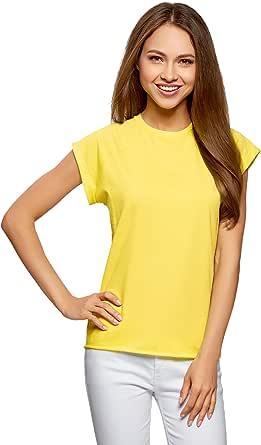 oodji Ultra Mujer Camiseta de Algod/ón B/ásica
