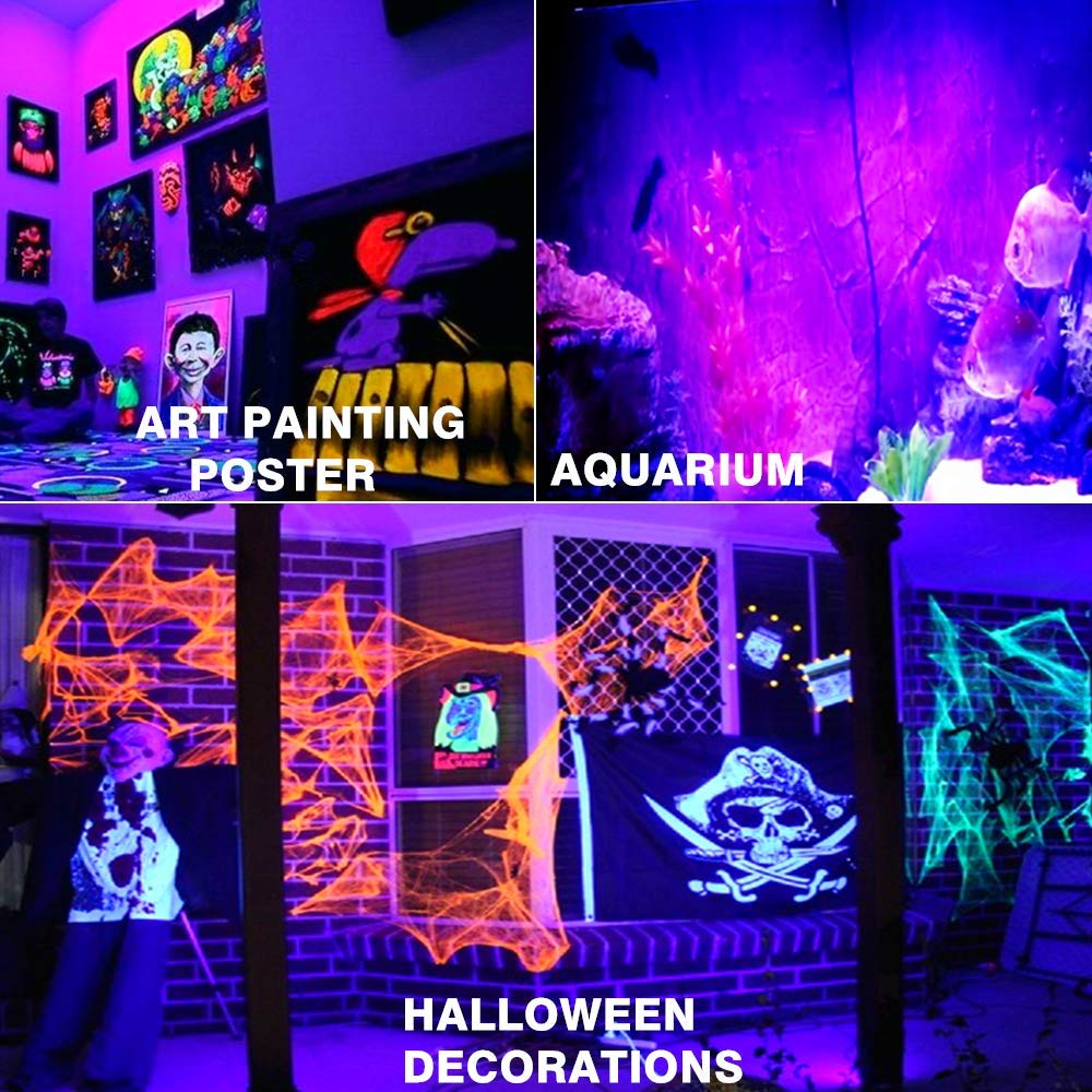 RONSHE UV LED Black Light, 50W Outdoor Ultra Violet LED Flood Light, IP66 Waterproof Blacklights for Dance Party, Neon Glow, Stage Lighting, Body Art Paint, Glow in The Dark Party Supplies by RONSHE (Image #4)