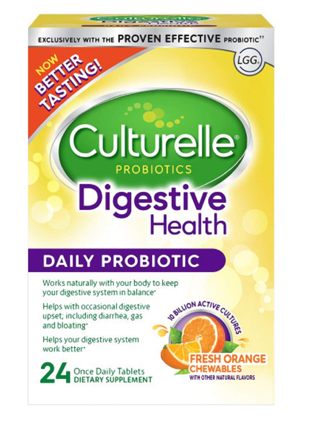 Culturelle Digestive Health Daily Formula Chewables, One Per Day Dietary Supplement, Contains 100% Naturally Sourced Lactobacillus GG -The Most Clinically Studied Probiotic†, 24 Count by Culturelle