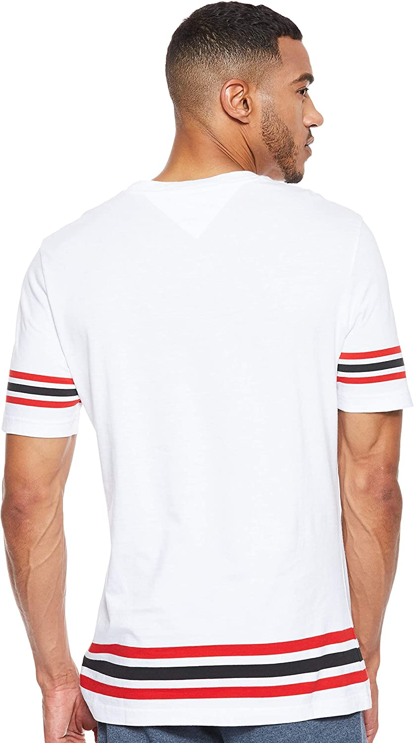 TOMMY HILFIGER Men - Cotton white stripe logo T-Shirt - Size S ...