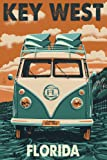 Key West, Florida - VW Van Letterpress (12x18 Art Print, Wall Decor Travel Poster)