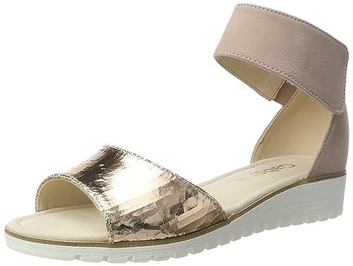 Fashion, Sandalias con Cuña para Mujer, Plateado (Silber/Stone 69), 40 EU Gabor