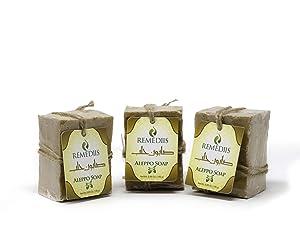 3 Pack Aleppo Soap Bars. 8 Oz Each, 100% Vegan Handmade, 20% Laurel Bay Oil, Anti-Itching, Artisan, Eczema Soap