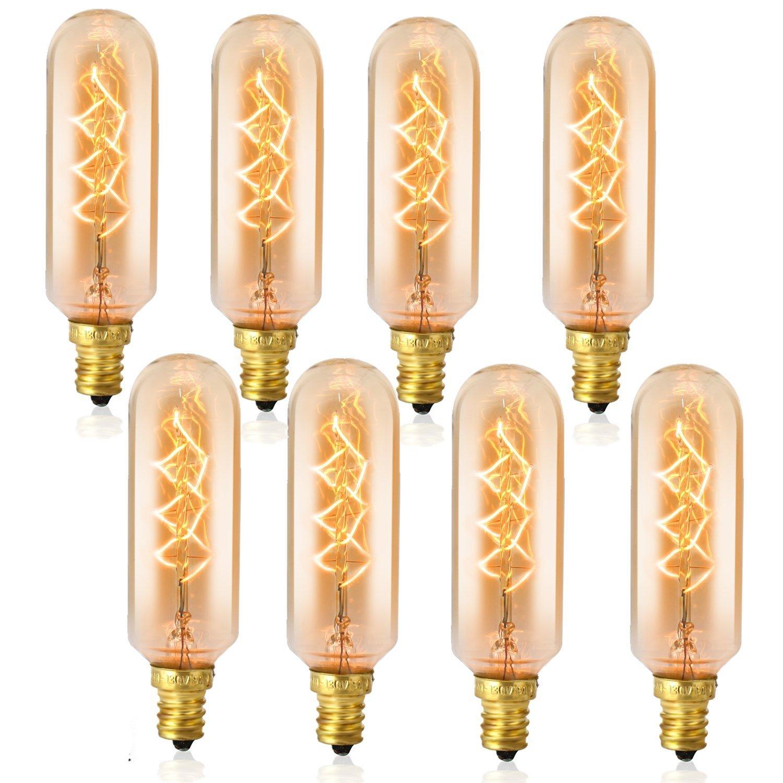 E12 Candelabra Base Light Bulbs, SooFoo Vintage Chandelier Edison Light Bulbs, 60W 110-130V, 320 Lumen, Mini Tube Shape Dimmable Decorative Incandescent Bulb