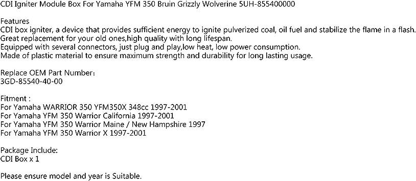 M/ódulo CDI para Yamaha Warrior 350 YFM350X 348cc 1997-2001 3GD-85540-40-00 Areyourshop