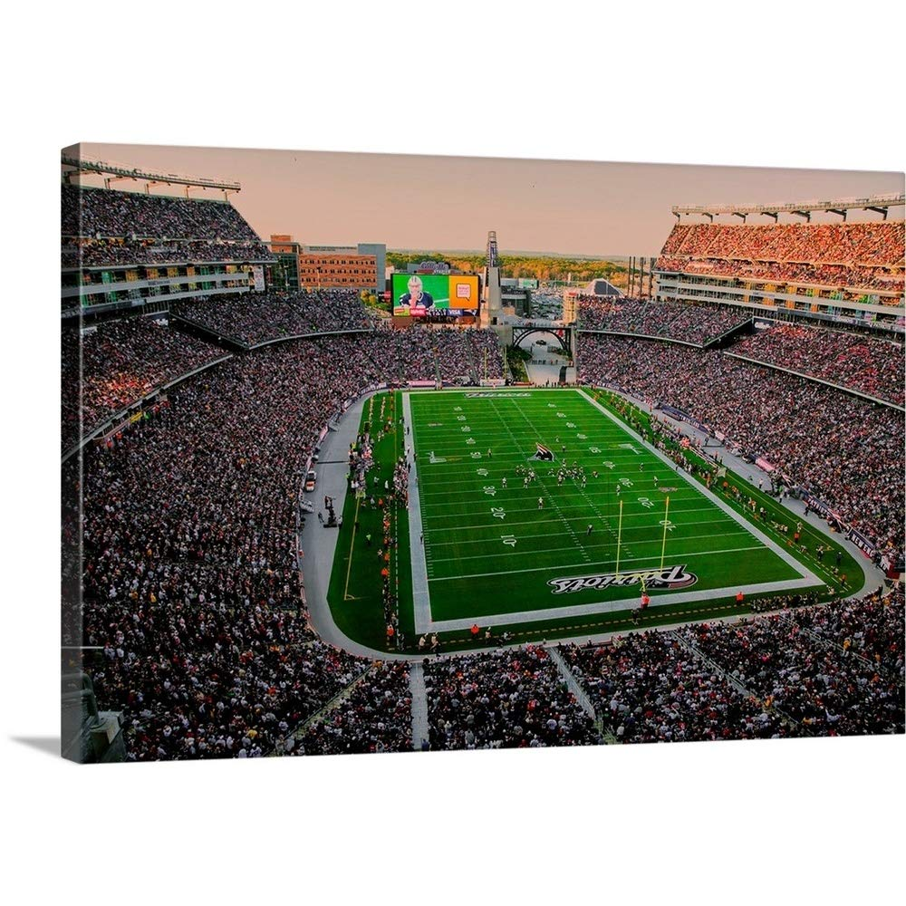 """GREATBIGCANVAS Gallery-Wrapped Canvas Entitled Elevated View of Gillette Stadium, New England Patriots by Panoramic Images 18""""x12"""""""