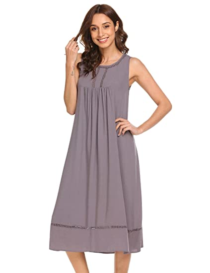 Ekouaer Women s Sleepwear Sleeveless Cotton Nightgown Scoop Neck ... 1f2a55387