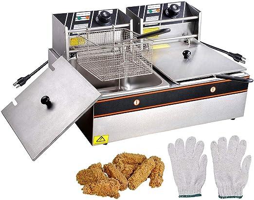 12L 5000W Electric Deep Fryer Commercial Dual Tank for Restaurant Kitchen