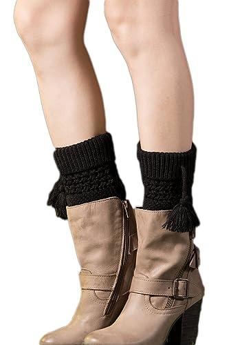 YACUN Las Mujeres Calcetines De Invierno De Punto De Ganchillo Leg Warmers Bota Corta