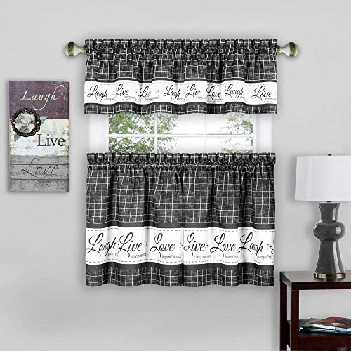 PowerSellerUSA Country Gingham Check Live Laugh Love 3PC Cafe Plaid Kitchen Curtain, Tier Pair and Valance Set, 58 x 36 , Dark Gray