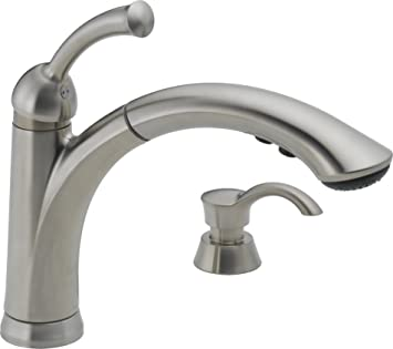 delta 16926 sssd dst lewiston single handle pull out kitchen faucet with soap dispenser stainless
